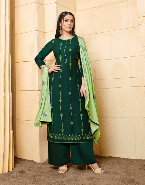 Green Rayon Heavy Resham Embroidery Worked Straight Cut Suit