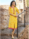 Beautiful Partywear Printed Yellow Color Cotton Kurtis