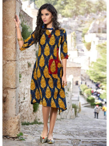 Beautiful Partywear Printed Blue & Yellow Color Cotton with Foil Touch Kurtis
