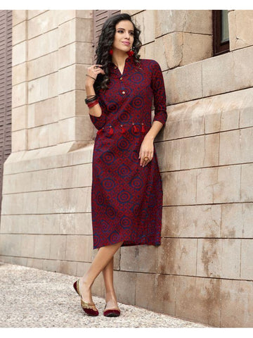 Beautiful Partywear Printed Blue & Pink Color Cotton Kurtis