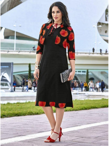 Beautiful Partywear Printed Black Color Cotton with Foil Touch Kurtis