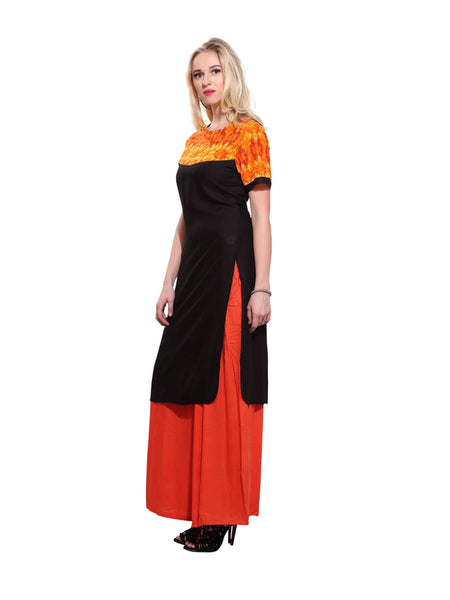 Beautiful Printed Black Color Rayon Kurti