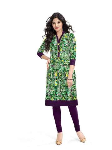 Exclusive Designer Green A Line Stylish Kurti