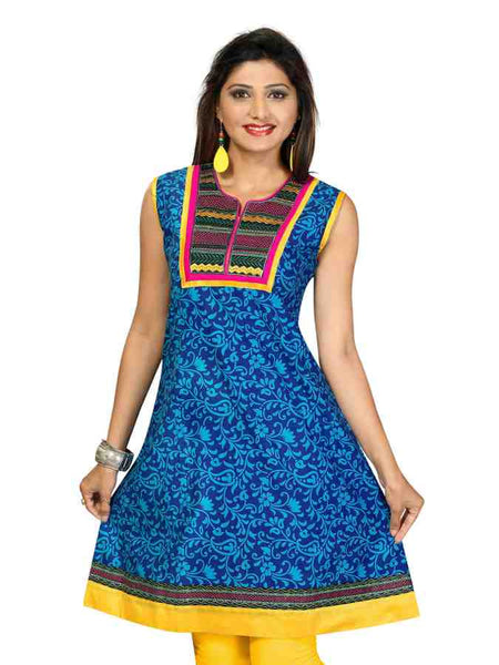 Denim Print Cotton Kurti With Fancy Neck Tabla - PurpleTulsi.com  - 1