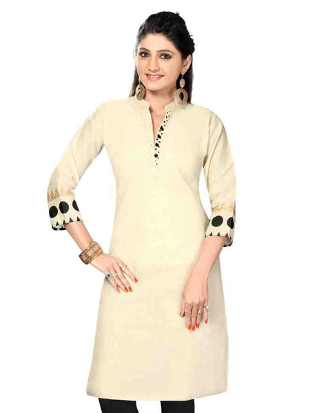Handloom cotton long straight cut Kurti - PurpleTulsi.com  - 1