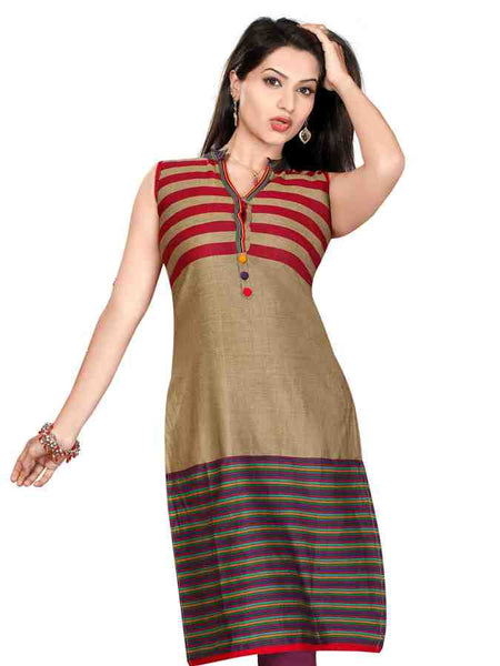 Handloom 3d stripes long kurti - PurpleTulsi.com  - 1