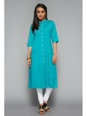 Exotic Cotton Plain Blue Kurti