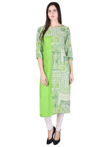 Designer Beautiful Green Color Cotton Kurti