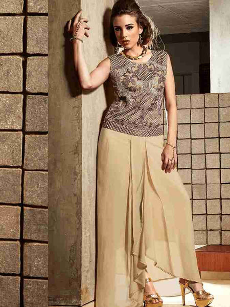Modern beige sleeveless dress - PurpleTulsi.com