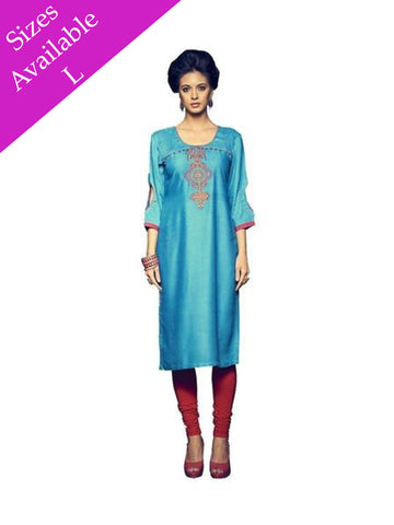 Exotic Rayon Embroidered Blue Kurti