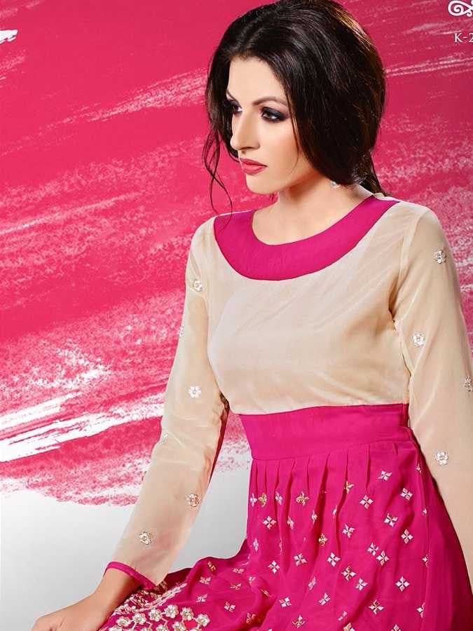 Magenta Georgette Dress - PurpleTulsi.com  - 1