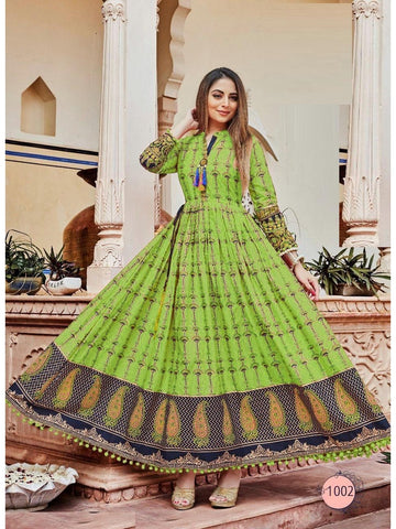 Beautiful Green Color PAL Print Anarkali Kurti