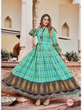 Beautiful Blue Color PAL Print Anarkali Kurti