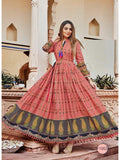 Beautiful Peach Color PAL Print Anarkali Kurti