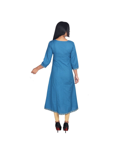 Blue Kalidar Zari Embroidered Kurti
