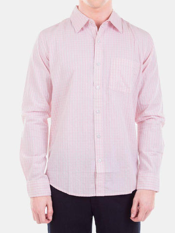 Men's Pink Color Checked Cotton Formal Shirt