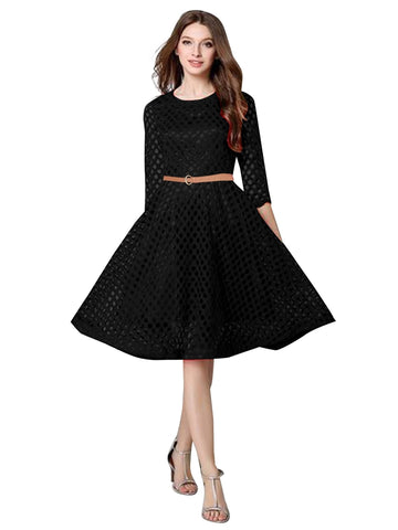 Exotic Black Net plain Dress