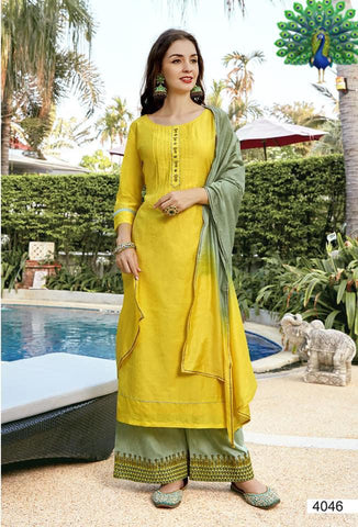 Designer Rayon Embroidered Straight Cut Suit