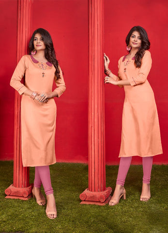Peach Heavy Jam Cotton Straight Cut Kurti