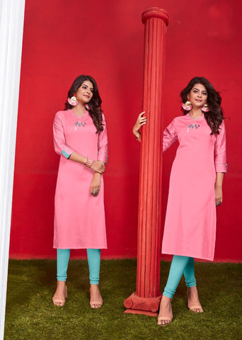 Pink Heavy Jam Cotton Straight Cut Kurti