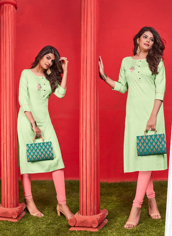 Pastel Green Heavy Jam Cotton Straight Cut Kurti
