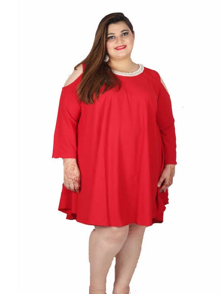 Candy Red Plus Size Kurti Top Dress