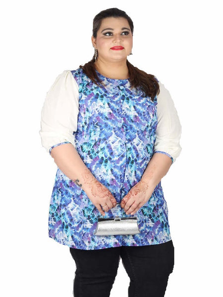 White and Blue Plus Size Kurti