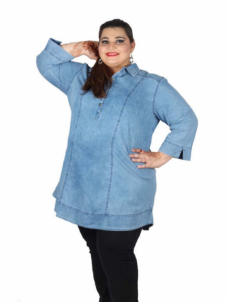 Light Blue Plus Size Kurti