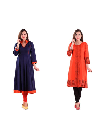 Fusion of Blue and Orange Color Kurtis