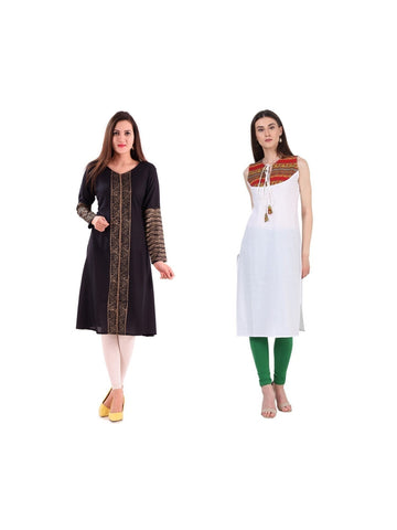 Fusion of Black and White Color Kurtis