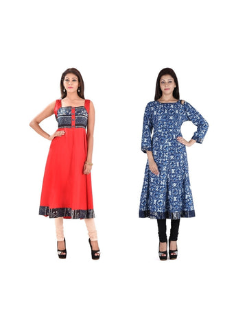 Fusion of Coral and Blue Printed A Line Kurtis