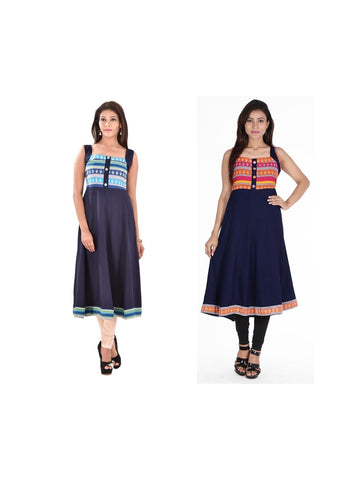 Fusion of Navy Blue A Line Kurtis