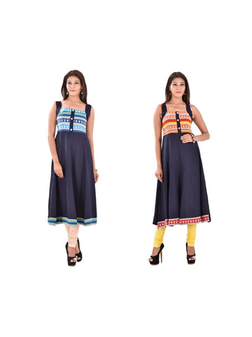 Fusion of Navy Blue Color A Line Kurtis