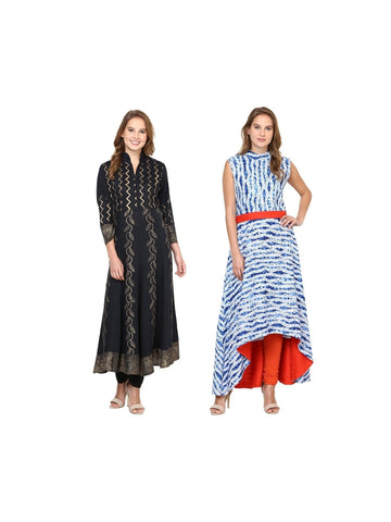 Fusion of Black and White Blue Printed Long Kurtis