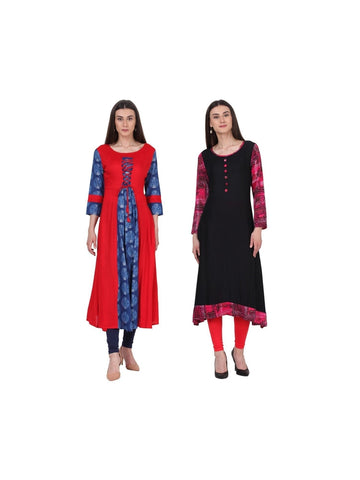 Fusion of Red Blue and Black Long Kurtis