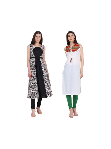Fusion of Black Printed and White Color Long Kurtis