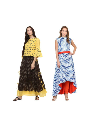 Fusion of Brown and Blue Printed Long Kurtis