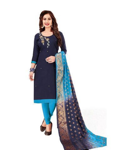 Designer Navy Blue Color Straight Cut Suit