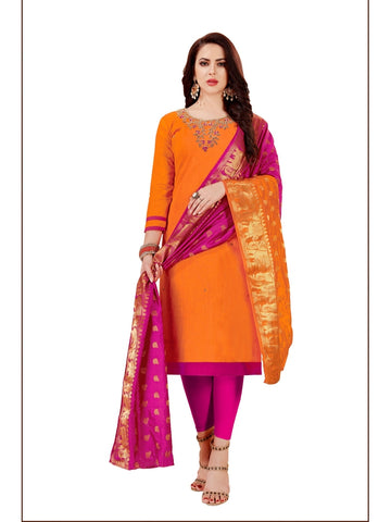 Designer Orange Color Straight Cut Suit