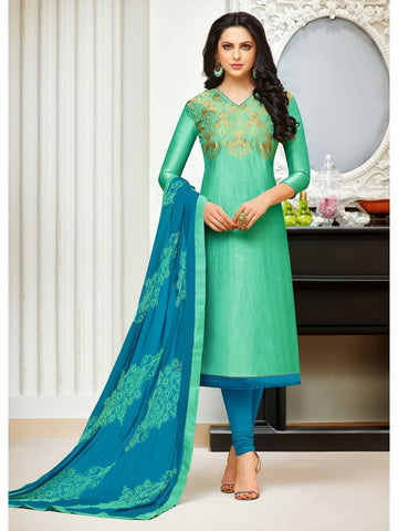 Designer Sea Green Color Embroidered Banarasi Silk Straight Cut Suit