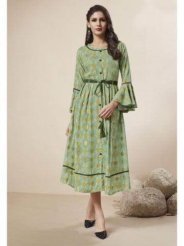 Designer and Beautiful Light Green Color Western Wear Dress