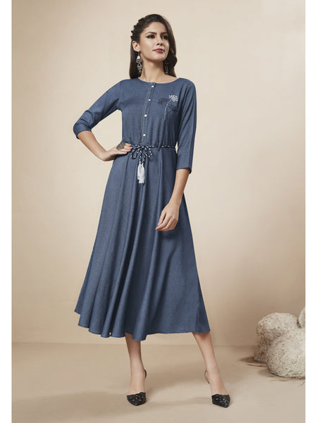 Designer and Beautiful Blue Color Western Wear Dress
