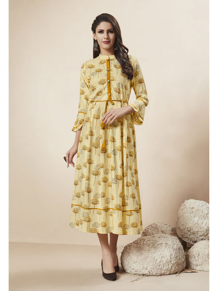 Designer and Beautiful Light Yellow Color Western Wear Dress