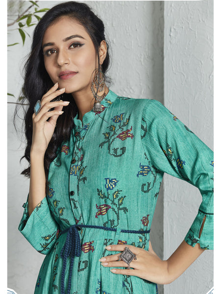 Designer and Beautiful Turquoise Color Straight Cut Kurti