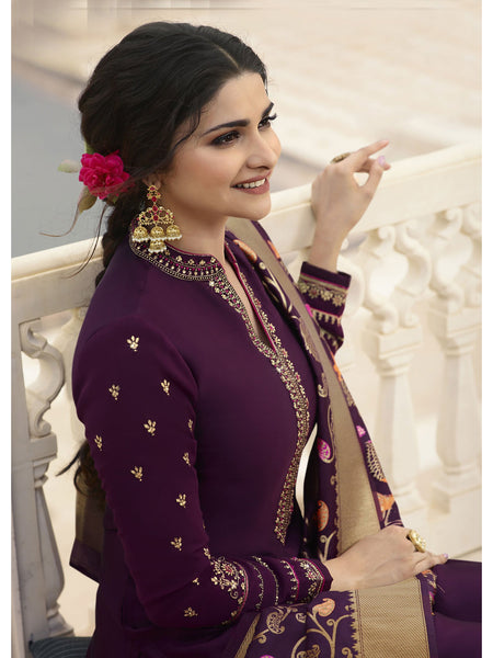 Designer and Beautiful Wine Color Straight Cut Suit