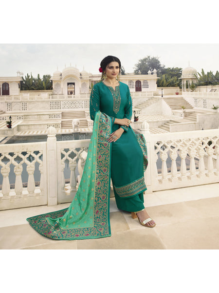 Designer and Beautiful Teal Green Color Straight Cut Suit