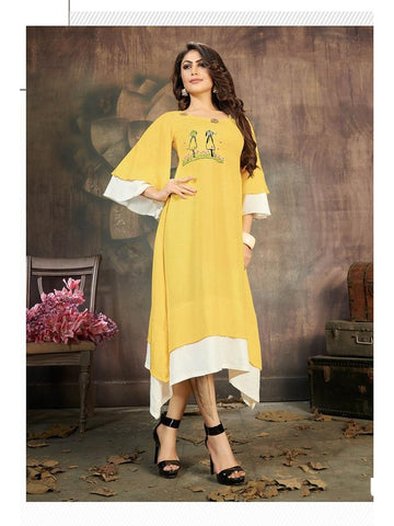 Designer Yellow Color Rayon Flex Long Straight Cut Kurti