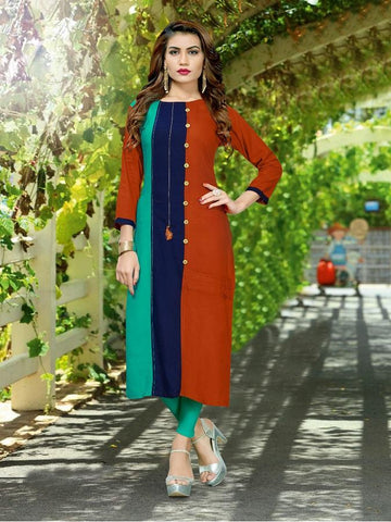 Designer Orange, Blue, & Green Color Printed Kurti