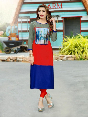 Designer Red, Blue, & Green Color Printed Kurti