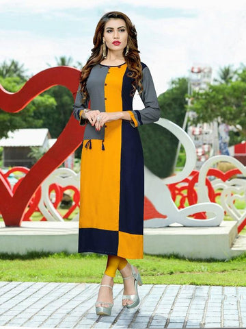 Designer Grey, Orange, & Blue Color Printed Kurti